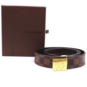 Damier Ebene Gold Buckle Leather Logo 80 32 Belt